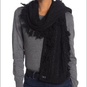 Ugg Cable Knit Fringe Scarf NWT OS Black Metallic